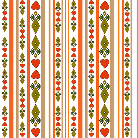 tilling: Seamless pattern with hearts and stripes on white background