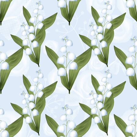valley: Lilies of the valley seamless pattern on blue background Stock Photo