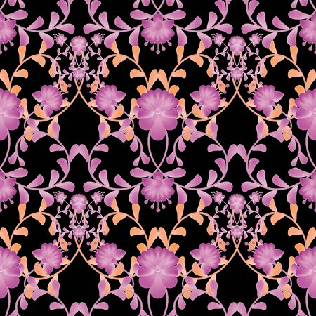 gzhel: Floral seamless pattern with flowers texture gzhel on black background Stock Photo