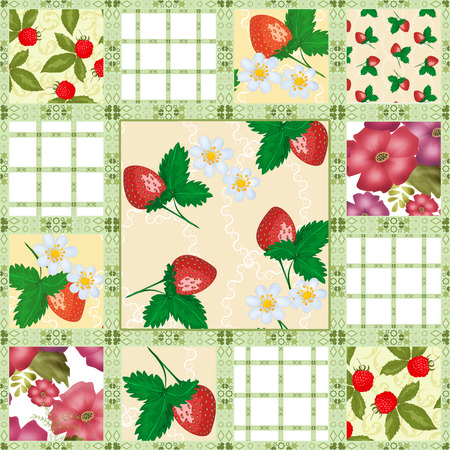 patchwork pattern: Patchwork seamless pattern berries background Stock Photo