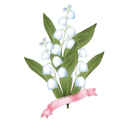 lily flowers: Bunch of lilies of the valley on white background