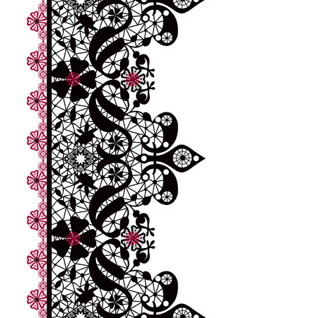 lacy: Black seamless lacy lace pattern on white background Stock Photo