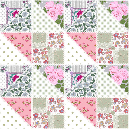 Patchwork seamless floral pattern background