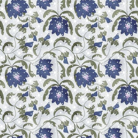 plant delicate: Seamless flowers pattern on grey background Stock Photo