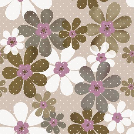 beige background: Seamless floral pattern texture on beige background