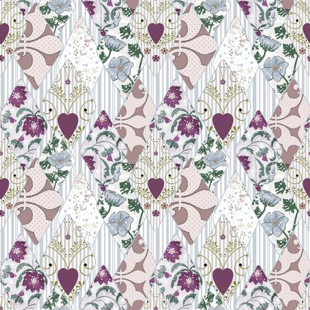 pinstripes: Patchwork seamless retro floral pattern background