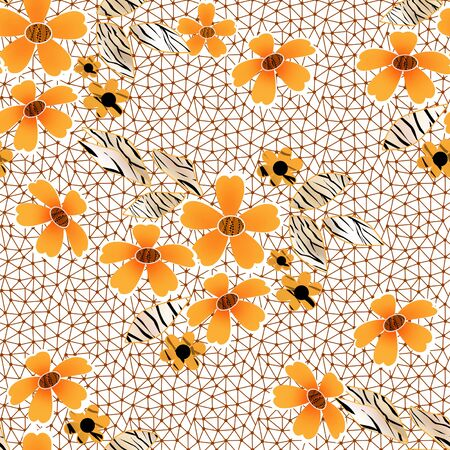 lacy: Orange seamless lacy lace pattern on white background Stock Photo