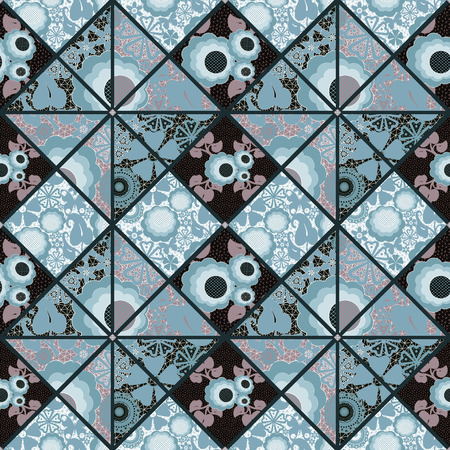 pinstripes: Patchwork seamless retro blue floral pattern background
