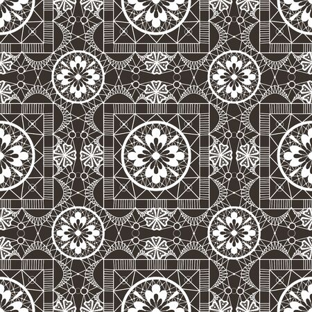 openwork: Seamless openwork white lace floral pattern on black background