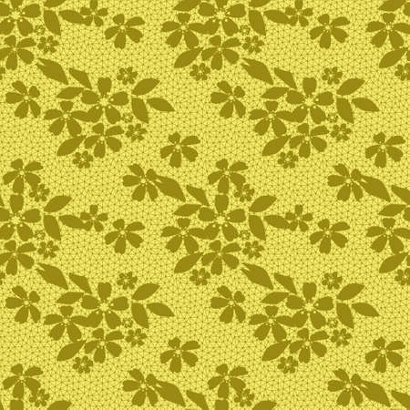 lacy: Seamless lacy lace floral pattern on yellow background