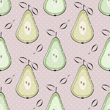 Pear seamless pattern fruits texture pastel colors background