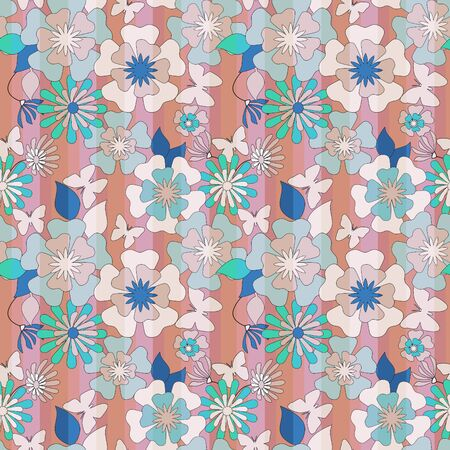 fall in love: Floral seamless pattern in retro style, cartoon cute flowers on striped background