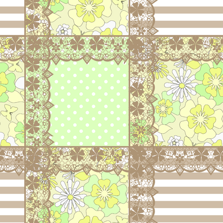ornamental elements: Patchwork seamless geometrical pattern texture background with ornamental elements