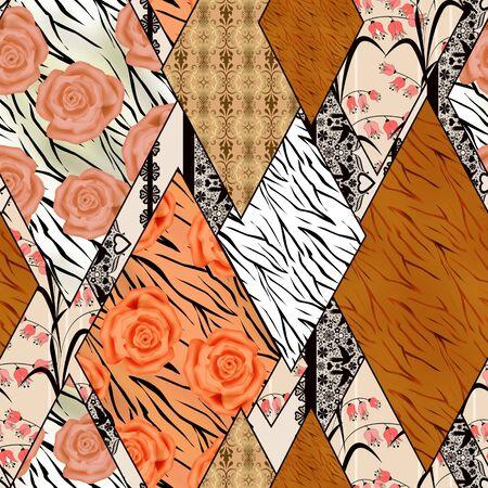 zebra print: Patchwork design seamless retro design pattern ornament background