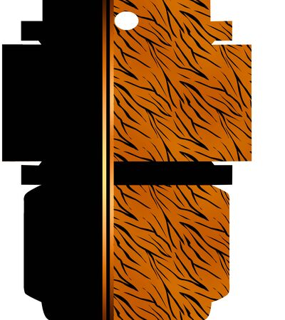 tiger skin: Wrap packaging box with ornamental black and tiger skin background