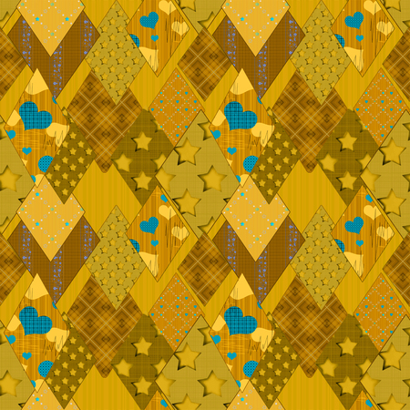 patchwork pattern: Seamless yellow patchwork pattern background Stock Photo