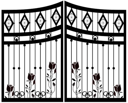 Puerta de hierro forjado, puerta, aislado de la cerca