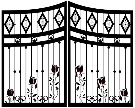 cast iron: Wrought Iron Gate, Door, Fence isolated