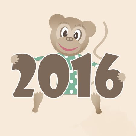 clover face: Happy new year 2016 illustration with toy monkey beige background