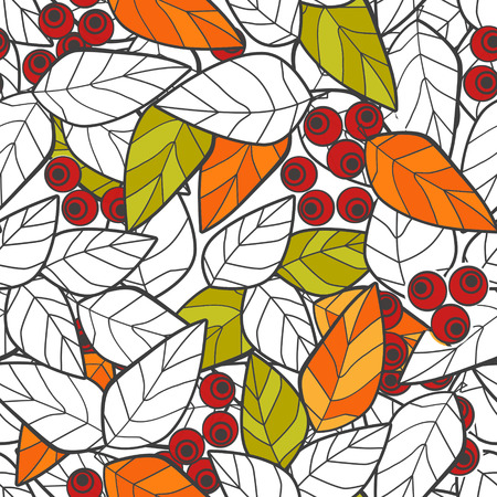 ashes: Seamless pattern red wild berries branch leaves retro texture background Stock Photo