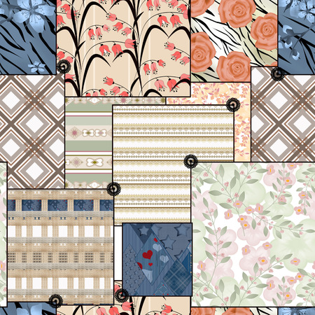 ornamental elements: Patchwork seamless geometrical floral pattern texture background with ornamental elements Stock Photo