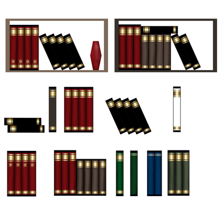 untidy: Row of books, piles of books isolated on white illustration