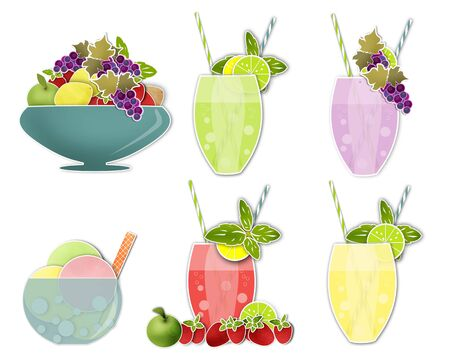 cold drinks: Set clip art images of cold drinks and ice cream, fruits Stock Photo