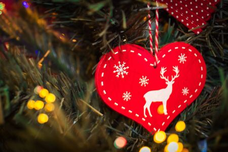 deer in heart: Christmas ornaments Heart with deer on the Christmas tree Stock Photo