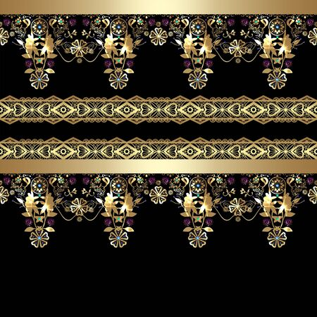 arabic gold: Golden seamless eastern arabic gold lace pattern on black background