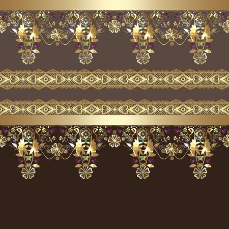 arabic gold: Golden seamless eastern arabic gold lace pattern on brown background