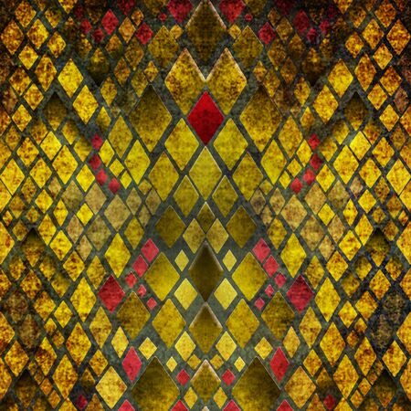 snake skin: Pattern of yellow and red snake skin grunge print texture background Stock Photo