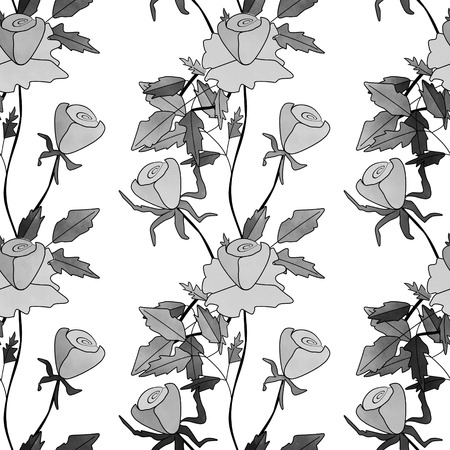white roses: Seamless abstract monochrome black white roses pattern, simple background