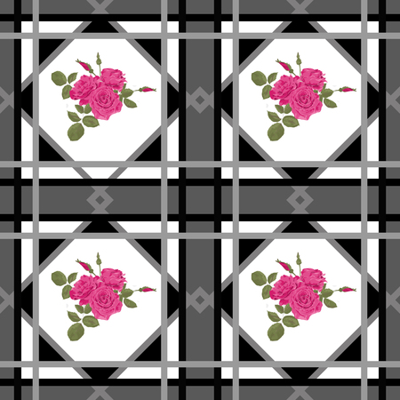scandinavian: Background retro scandinavian seamless pattern patchwork checkered plaid design Stock Photo