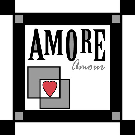 amore: Background retro scandinavian illustration love amore design
