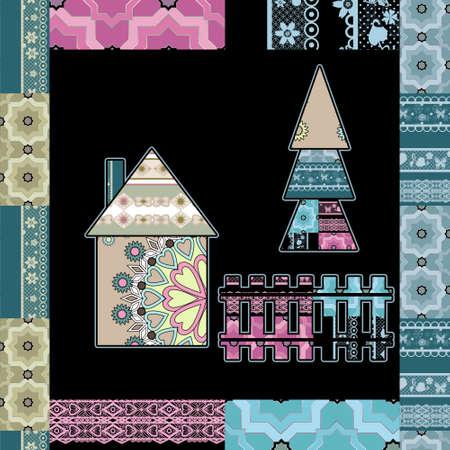 scandinavian: Background retro scandinavian pattern patchwork quilt design Stock Photo