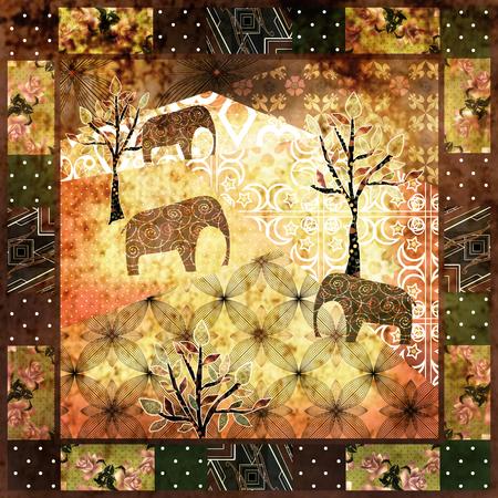 indianische muster: Patchwork afrikanische Muster Grunge Druckweinlese, Retro-Hintergrund Lizenzfreie Bilder