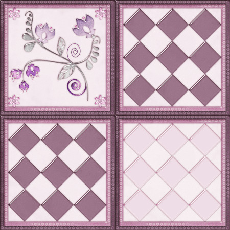 cary: Floral tile background with flowers glass effect illustration Stock Photo