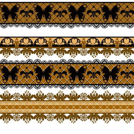 tights: Seamless lace lacy ribbon washi tapes pattern background print Stock Photo