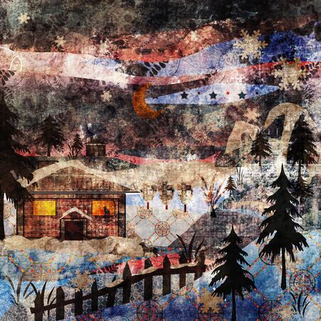 patchwork landscape: Background retro christmas patchwork design grunge winter picture illustration Stock Photo