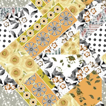 yellow roses: Seamless patchwork design floral pattern with yellow roses and flowers print Stock Photo