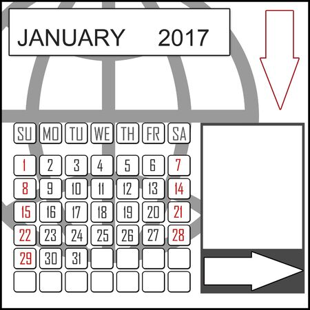 chronological: Abstract design 2017 calendar with note space for january month