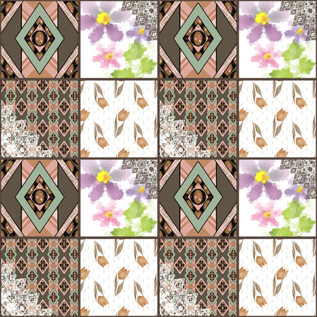 quilted: Quilted, boho seamless pattern, patchwork, rustic style. Background texture, wallpaper, wrapping in retro design