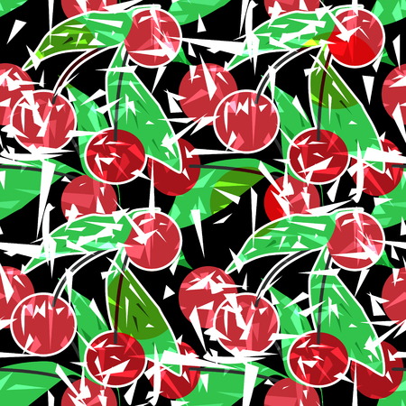 Modern fresh seamless pattern with cherries. Repeating bright stylized print