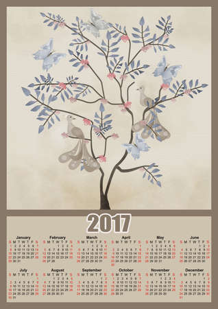 fairy tree: Fairy tree with birds and butterflies 2017 grunge calendar design printable illustration