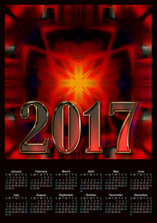 Abstract modern red colors 2017 calendar design printabl? Stock Photo