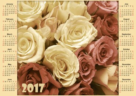 Roses flowers 2017 calendar design printable illustration