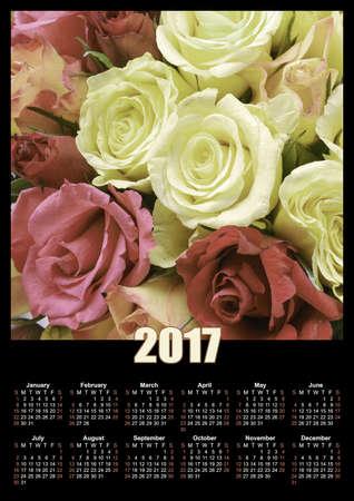 Roses flowers 2017 calendar design printable illustration