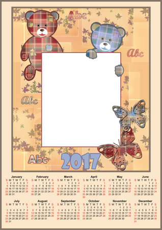 new ages: Cute kids calendar 2017 with frame bears background Stock Photo