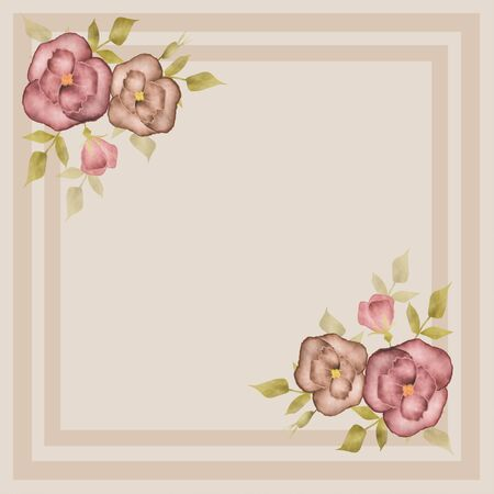 beige background: Retro frame with roses on beige background