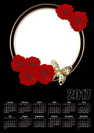festive occasions: Calendar 2017 template with red flowers poppy frame